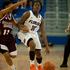 Florida sophomore guard Jaterra Bonds looking for an open teammate during the Gators' 79-45 win against the Mississippi St. Bulldogs on Thursday, February 23, 2012 at the Stephen C. O'Connell Center in Gainesville, Fla. / Gator Country photo by Saj Guevara
