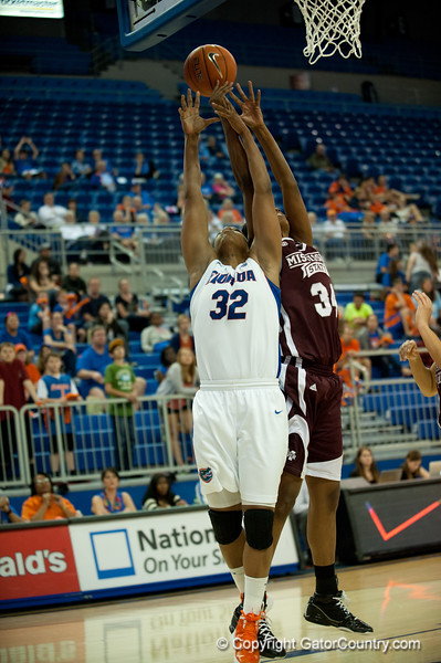 Florida junior forward Jennifer George fights for the rebound during the Gators' 79-45 win against the Mississippi St. Bulldogs on Thursday, February 23, 2012 at the Stephen C. O'Connell Center in Gainesville, Fla. / Gator Country photo by Saj Guevara
