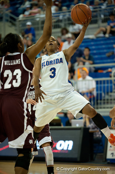 Florida senior guard Lanita Bartley with a layup during the Gators' 79-45 win against the Mississippi St. Bulldogs on Thursday, February 23, 2012 at the Stephen C. O'Connell Center in Gainesville, Fla. / Gator Country photo by Saj Guevara