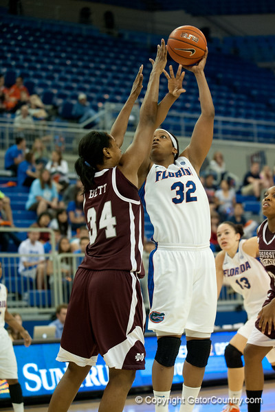 Florida junior forward Jennifer George on a jump shot during the Gators' 79-45 win against the Mississippi St. Bulldogs on Thursday, February 23, 2012 at the Stephen C. O'Connell Center in Gainesville, Fla. / Gator Country photo by Saj Guevara