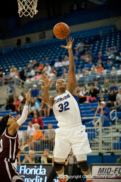 Florida junior forward Jennifer George makes an easy layup during the Gators' 79-45 win against the Mississippi St. Bulldogs on Thursday, February 23, 2012 at the Stephen C. O'Connell Center in Gainesville, Fla. / Gator Country photo by Saj Guevara