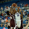 Florida junior forward Jennifer George was blocked and fouled during the Gators' 79-45 win against the Mississippi St. Bulldogs on Thursday, February 23, 2012 at the Stephen C. O'Connell Center in Gainesville, Fla. / Gator Country photo by Saj Guevara
