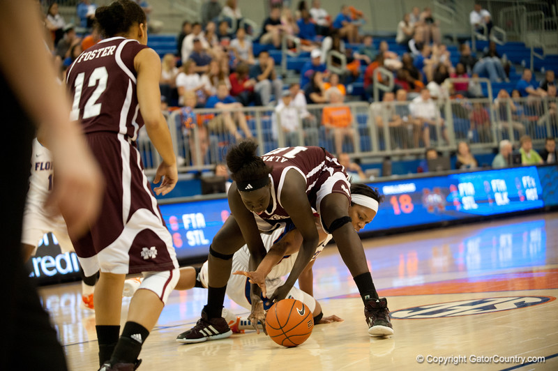 Florida junior forward Jennifer George fights for a loose ball during the Gators' 79-45 win against the Mississippi St. Bulldogs on Thursday, February 23, 2012 at the Stephen C. O'Connell Center in Gainesville, Fla. / Gator Country photo by Saj Guevara