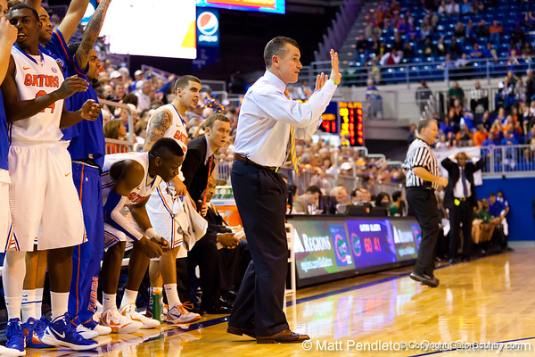 Florida head coach Billy Donovan signals from the sideline during the second half of the Gators' 79-61 win against the UAB Blazers on Tuesday at the Stephen C. O'Connell Center in Gainesville, Fla. / photo by Matt Pendleton