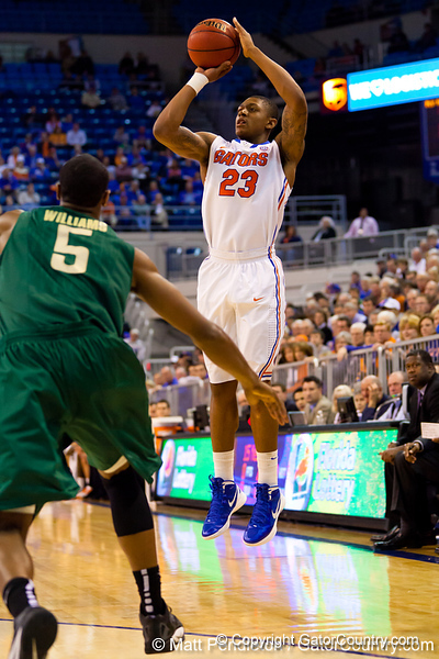 Florida freshman guard Bradley Beal shoots for three during the first half of the Gators' 79-61 win against the UAB Blazers on Tuesday at the Stephen C. O'Connell Center in Gainesville, Fla. / photo by Matt Pendleton