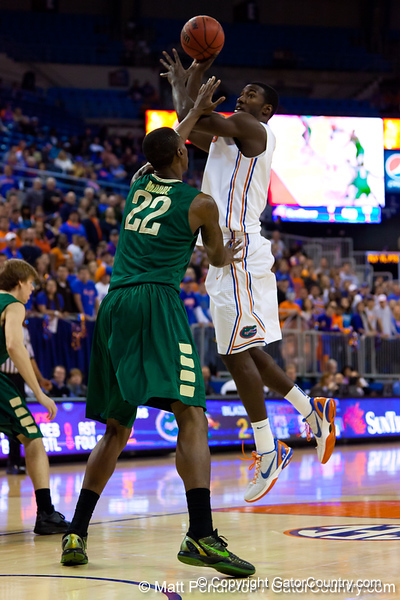 Florida sophomore center Patric Young shoots for two during the first half of the Gators' 79-61 win against the UAB Blazers on Tuesday at the Stephen C. O'Connell Center in Gainesville, Fla. / photo by Matt Pendleton