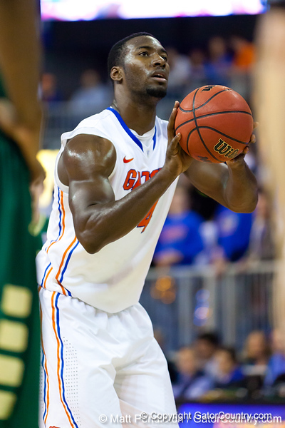 Florida sophomore center Patric Young shoots a free throw during the second half of the Gators' 79-61 win against the UAB Blazers on Tuesday at the Stephen C. O'Connell Center in Gainesville, Fla. / photo by Matt Pendleton