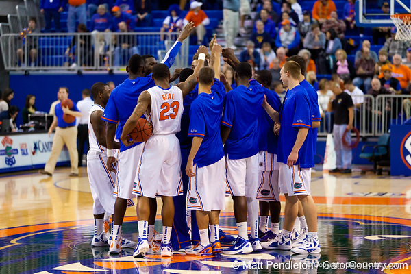 Florida players huddle before the Gators' 79-61 win against the UAB Blazers on Tuesday at the Stephen C. O'Connell Center in Gainesville, Fla. / photo by Matt Pendleton