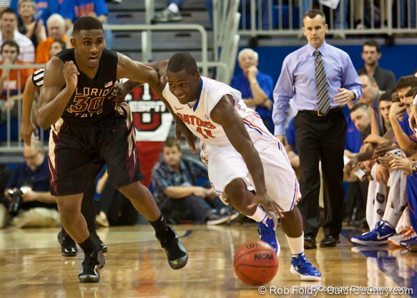 during the Gators' 82-64 win over the Florida State Seminoles on Thursday, December 22, 2011 at the Stephen C. O'Connell Center in Gainesville, Fla./Gator Country photo by Rob Foldy