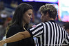 Belmont head coach Brittany Ezell talks with a referee during the Gators' 72-45 victory against the Belmont University Bruins on Tuesday, November 29, 2011 held at the Stephen C. O'Connell Center in Gainesville, Fla. / Gator Country photo by Rob Foldy
