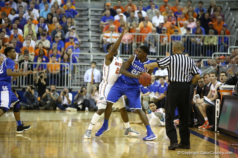 Michael Frazier defends during Florida's 69-52 win over Kentucky on February 12, 2013 at the Stephen C O'Connell Center in Gainesville, Florida. Pictures taken by Curtiss Bryant for Gatorcountry.com