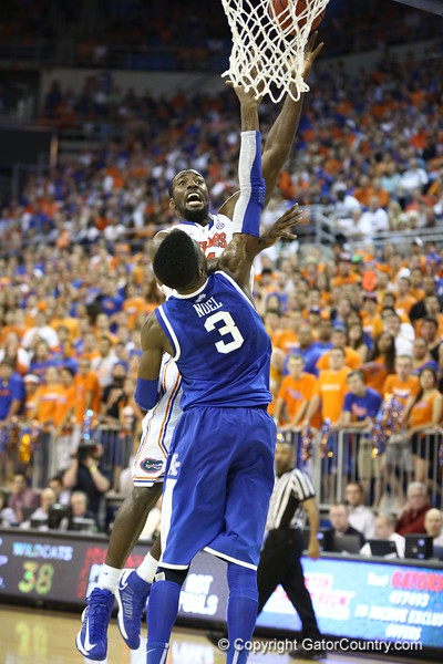 Patric Young shoots over Noel during Florida's 69-52 win over Kentucky on February 12, 2013 at the Stephen C O'Connell Center in Gainesville, Florida. Pictures taken by Curtiss Bryant for Gatorcountry.com