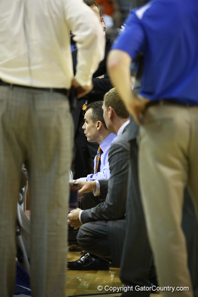 Coach Billy Donovon during a timeout during Florida's 69-52 win over Kentucky on February 12, 2013 at the Stephen C O'Connell Center in Gainesville, Florida. Pictures taken by Curtiss Bryant for Gatorcountry.com