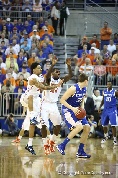 Mike Rosario and Casey Prather during Florida's 69-52 win over Kentucky on February 12, 2013 at the Stephen C O'Connell Center in Gainesville, Florida. Pictures taken by Curtiss Bryant for Gatorcountry.com