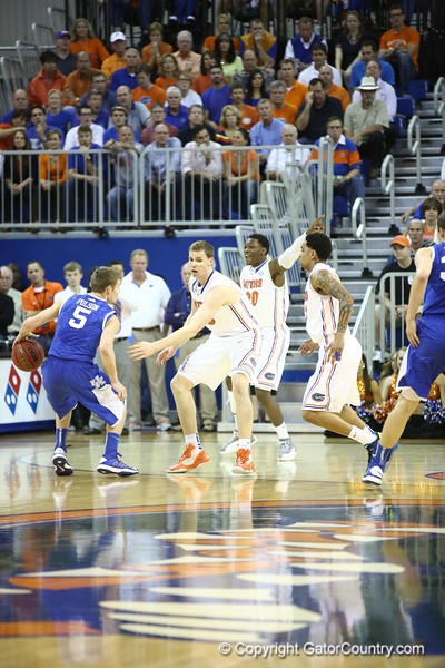 Erik Murphy, Mike Rosario and Michael Frazier on defense during Florida's 69-52 win over Kentucky on February 12, 2013 at the Stephen C O'Connell Center in Gainesville, Florida. Pictures taken by Curtiss Bryant for Gatorcountry.com