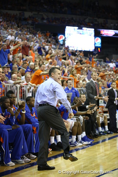 Billy Donovon reacts to a call during Florida's 69-52 win over Kentucky on February 12, 2013 at the Stephen C O'Connell Center in Gainesville, Florida. Pictures taken by Curtiss Bryant for Gatorcountry.com