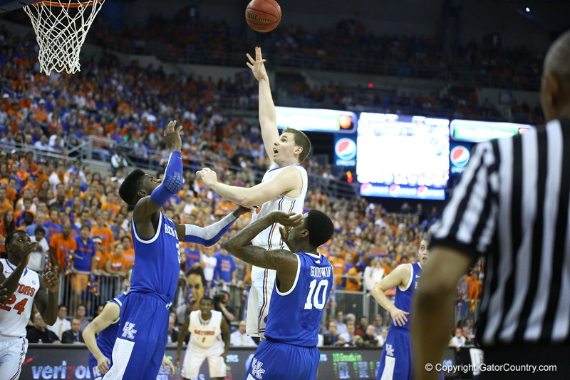 Erik Murphy during Florida's 69-52 win over Kentucky on February 12, 2013 at the Stephen C O'Connell Center in Gainesville, Florida. Pictures taken by Curtiss Bryant for Gatorcountry.com