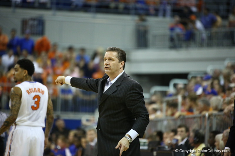 Kentucky coach John Calipari during Florida's 69-52 win over Kentucky on February 12, 2013 at the Stephen C O'Connell Center in Gainesville, Florida. Pictures taken by Curtiss Bryant for Gatorcountry.com