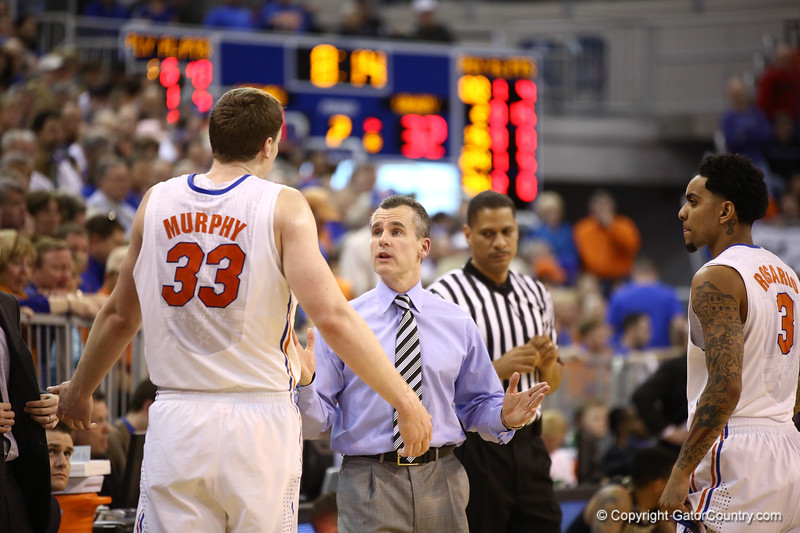 Coach Billy Donovon talks to Erik Murphy during Florida's 66-40 win over Vanderbilt on March 6, 2013 at the Stephen C O'Connell Center in Gainesville, Florida. Photos by Curtiss Bryant for Gatorcountry.com