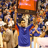 Mike Rosario holds up his jersey during Florida's 66-40 win over Vanderbilt on March 6, 2013 at the Stephen C O'Connell Center in Gainesville, Florida. Photos by Curtiss Bryant for Gatorcountry.com