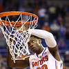 Michael Frazier cuts down the net during Florida's 66-40 win over Vanderbilt on March 6, 2013 at the Stephen C O'Connell Center in Gainesville, Florida. Photos by Curtiss Bryant for Gatorcountry.com
