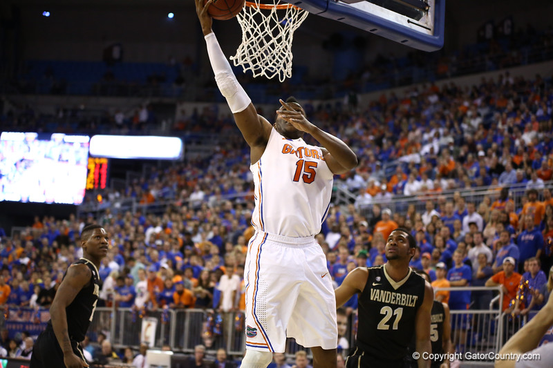 Will Yeguete goes for a layup during Florida's 66-40 win over Vanderbilt on March 6, 2013 at the Stephen C O'Connell Center in Gainesville, Florida. Photos by Curtiss Bryant for Gatorcountry.com