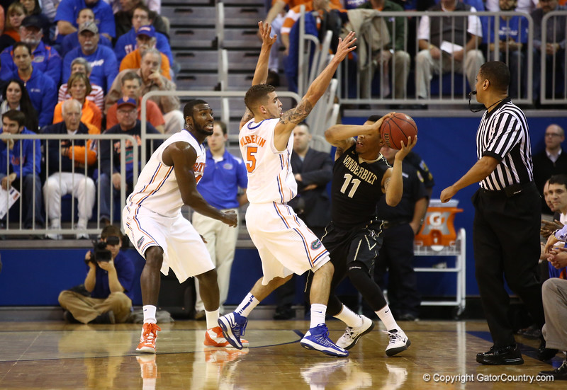 Scottie Wilbekin and Patric Young defend during Florida's 66-40 win over Vanderbilt on March 6, 2013 at the Stephen C O'Connell Center in Gainesville, Florida. Photos by Curtiss Bryant for Gatorcountry.com