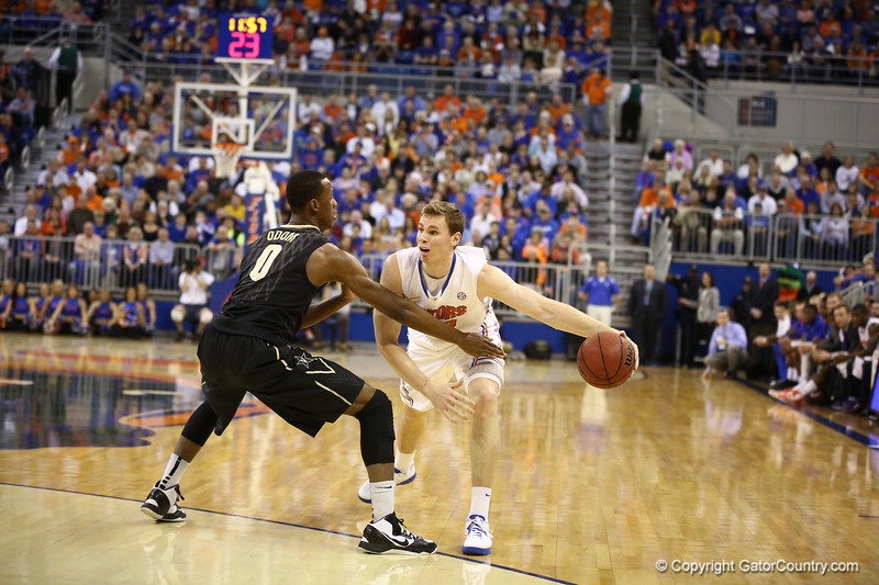 Erik Murphy passes during Florida's 66-40 win over Vanderbilt on March 6, 2013 at the Stephen C O'Connell Center in Gainesville, Florida. Photos by Curtiss Bryant for Gatorcountry.com