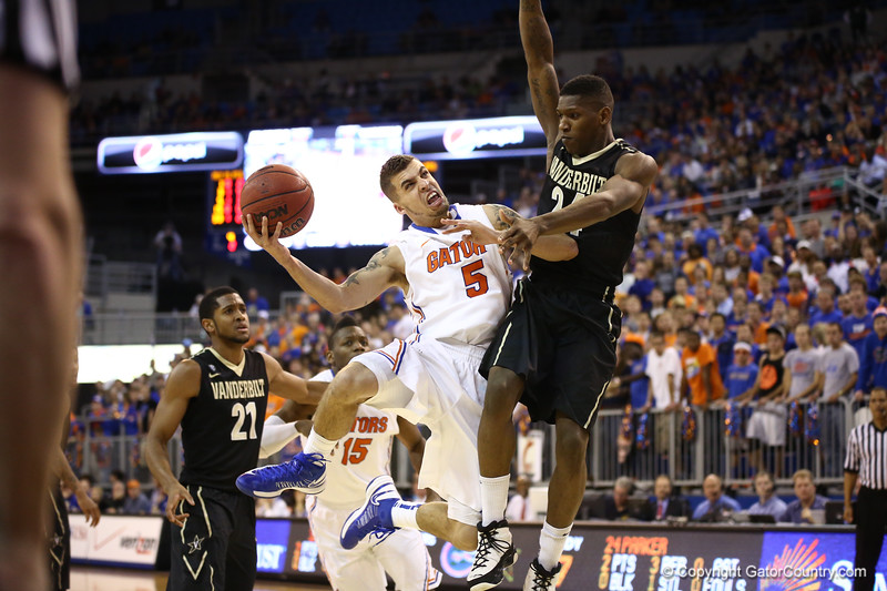 Scottie Wilbekin gets fouled during Florida's 66-40 win over Vanderbilt on March 6, 2013 at the Stephen C O'Connell Center in Gainesville, Florida. Photos by Curtiss Bryant for Gatorcountry.com