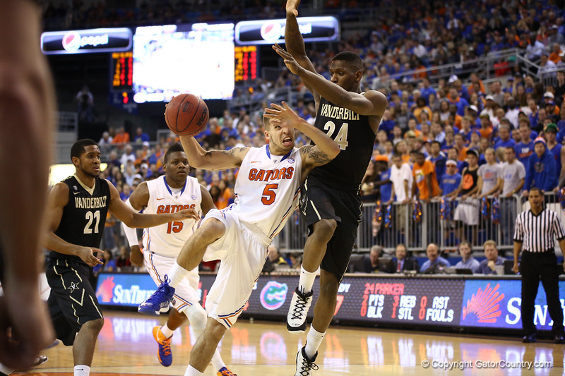 Scottie Wilbekin during Florida's 66-40 win over Vanderbilt on March 6, 2013 at the Stephen C O'Connell Center in Gainesville, Florida. Photos by Curtiss Bryant for Gatorcountry.com