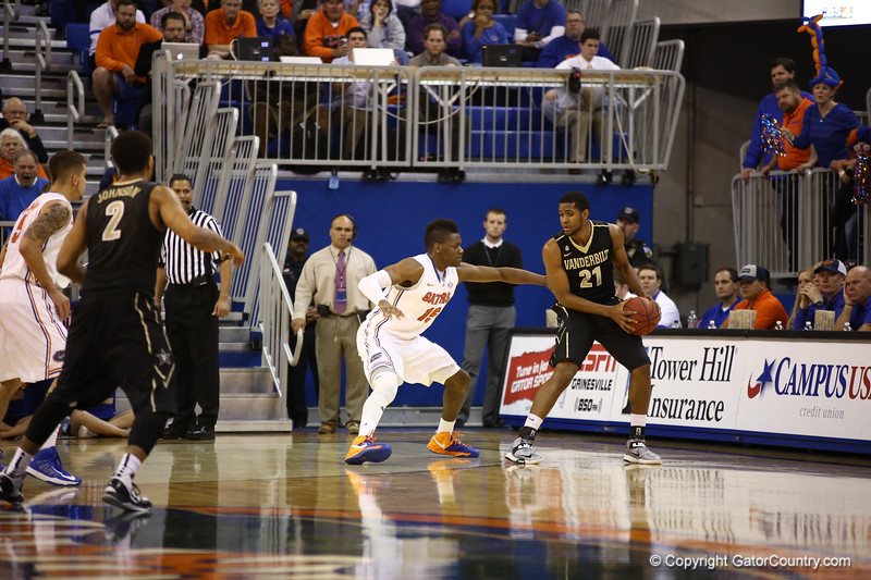 Will Yeguete defends during Florida's 66-40 win over Vanderbilt on March 6, 2013 at the Stephen C O'Connell Center in Gainesville, Florida. Photos by Curtiss Bryant for Gatorcountry.com