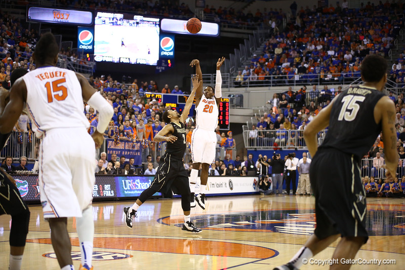 Michael Frazier shoots during Florida's 66-40 win over Vanderbilt on March 6, 2013 at the Stephen C O'Connell Center in Gainesville, Florida. Photos by Curtiss Bryant for Gatorcountry.com