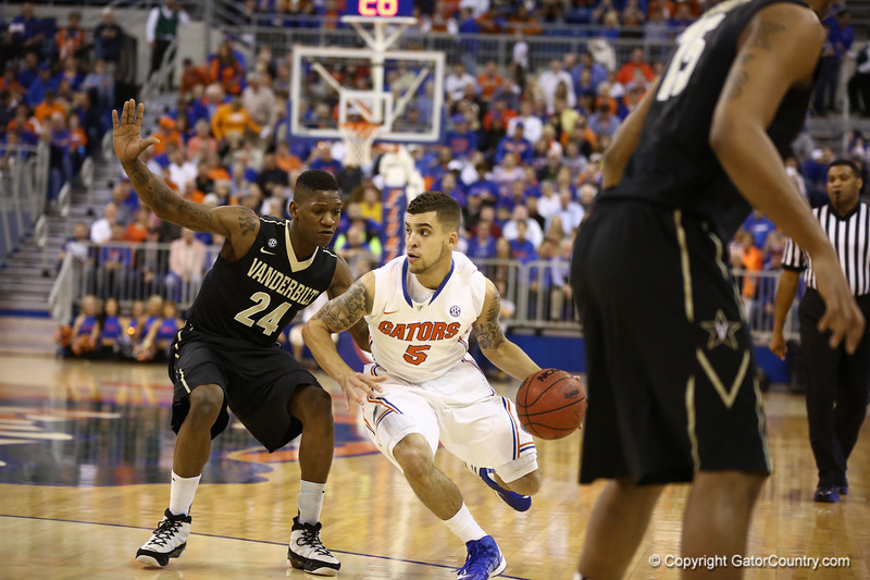 Scottie Wilbekin dribbles past a defender during Florida's 66-40 win over Vanderbilt on March 6, 2013 at the Stephen C O'Connell Center in Gainesville, Florida. Photos by Curtiss Bryant for Gatorcountry.com