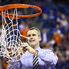 Billy Donovon cuts down the net during Florida's 66-40 win over Vanderbilt on March 6, 2013 at the Stephen C O'Connell Center in Gainesville, Florida. Photos by Curtiss Bryant for Gatorcountry.com