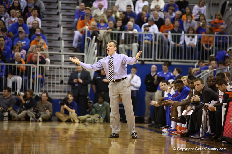 Coach Billy Donovan objects to a call during Florida's 66-40 win over Vanderbilt on March 6, 2013 at the Stephen C O'Connell Center in Gainesville, Florida. Photos by Curtiss Bryant for Gatorcountry.com