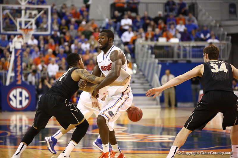 Patric Young sets a pick during Florida's 66-40 win over Vanderbilt on March 6, 2013 at the Stephen C O'Connell Center in Gainesville, Florida. Photos by Curtiss Bryant for Gatorcountry.com