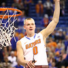 Jacob Kurtz cuts down the net during Florida's 66-40 win over Vanderbilt on March 6, 2013 at the Stephen C O'Connell Center in Gainesville, Florida. Photos by Curtiss Bryant for Gatorcountry.com