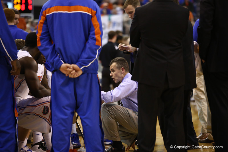 Coach Billy Donovan talks to the team during a timeout during Florida's 66-40 win over Vanderbilt on March 6, 2013 at the Stephen C O'Connell Center in Gainesville, Florida. Photos by Curtiss Bryant for Gatorcountry.com