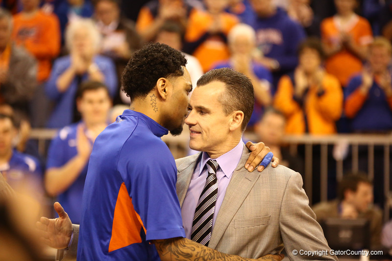 Mike Rosario gives Coach Billy Donovan a hug during senior night festivities during Florida's 66-40 win over Vanderbilt on March 6, 2013 at the Stephen C O'Connell Center in Gainesville, Florida. Photos by Curtiss Bryant for Gatorcountry.com