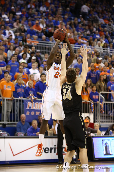 Casey Prather shoots during Florida's 66-40 win over Vanderbilt on March 6, 2013 at the Stephen C O'Connell Center in Gainesville, Florida. Photos by Curtiss Bryant for Gatorcountry.com