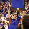 Erik Murphy holds up his jersey on senior night during Florida's 66-40 win over Vanderbilt on March 6, 2013 at the Stephen C O'Connell Center in Gainesville, Florida. Photos by Curtiss Bryant for Gatorcountry.com