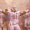 Florida junior linebacker Brandon Spikes relishes the rain before the Gators' 45-15 win against the Florida State Seminoles on Saturday, November 29, 2008 at Doak Campbell Stadium in Tallahassee, Fla. / Gator Country photo by Tim Casey