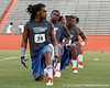 Florida junior free safety Josh Evans stretches during the Gator Charity Challenge event on Friday, July 29, 2011 at Ben Hill Griffin Stadium in Gainesville, Fla. / Gator Country photo by Tim Casey