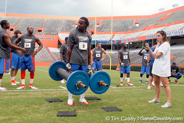 Florida sophomore safety Joshua Shaw competes in the torpedo hold during the Gator Charity Challenge event on Friday, July 29, 2011 at Ben Hill Griffin Stadium in Gainesville, Fla. / Gator Country photo by Tim Casey