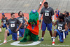 Florida redshirt senior quarterback John Brantley and Albert stretch during the Gator Charity Challenge event on Friday, July 29, 2011 at Ben Hill Griffin Stadium in Gainesville, Fla. / Gator Country photo by Tim Casey