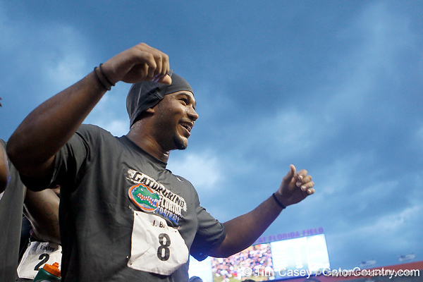 Florida redshirt junior cornerback Jeremy Brown celebrates during the Gator Charity Challenge event on Friday, July 29, 2011 at Ben Hill Griffin Stadium in Gainesville, Fla. / Gator Country photo by Tim Casey
