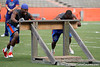 Florida freshman defensive back Marcus Roberson pushes the sled during the Gator Charity Challenge event on Friday, July 29, 2011 at Ben Hill Griffin Stadium in Gainesville, Fla. / Gator Country photo by Tim Casey