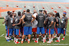 Florida players huddle during the Gator Charity Challenge event on Friday, July 29, 2011 at Ben Hill Griffin Stadium in Gainesville, Fla. / Gator Country photo by Tim Casey