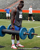 Florida sophomore defensive tackle Sharrif Floyd competes in the torpedo hold during the Gator Charity Challenge event on Friday, July 29, 2011 at Ben Hill Griffin Stadium in Gainesville, Fla. / Gator Country photo by Tim Casey