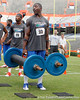 Florida sophomore running back Mack Brown competes in the torpedo hold during the Gator Charity Challenge event on Friday, July 29, 2011 at Ben Hill Griffin Stadium in Gainesville, Fla. / Gator Country photo by Tim Casey